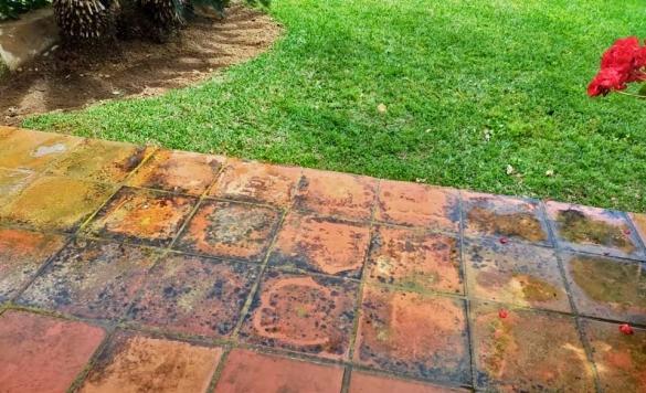 limpiar suelo de terraza rojo en alicante